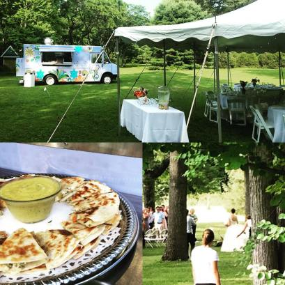 Wedding Vending with passed appetizer of crab meat quesadilla with mango sauce